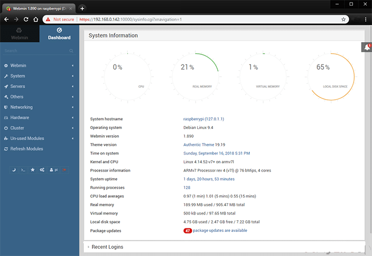Menginstal Webmin Di Raspberry Pi - main dashboard